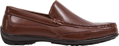 Boys' Deer Stags Booster Moc Toe Loafer, Dark Luggage Brown Simulated Leather, large, image 2