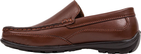 Boys' Deer Stags Booster Moc Toe Loafer, Dark Luggage Brown Simulated Leather, large, image 3