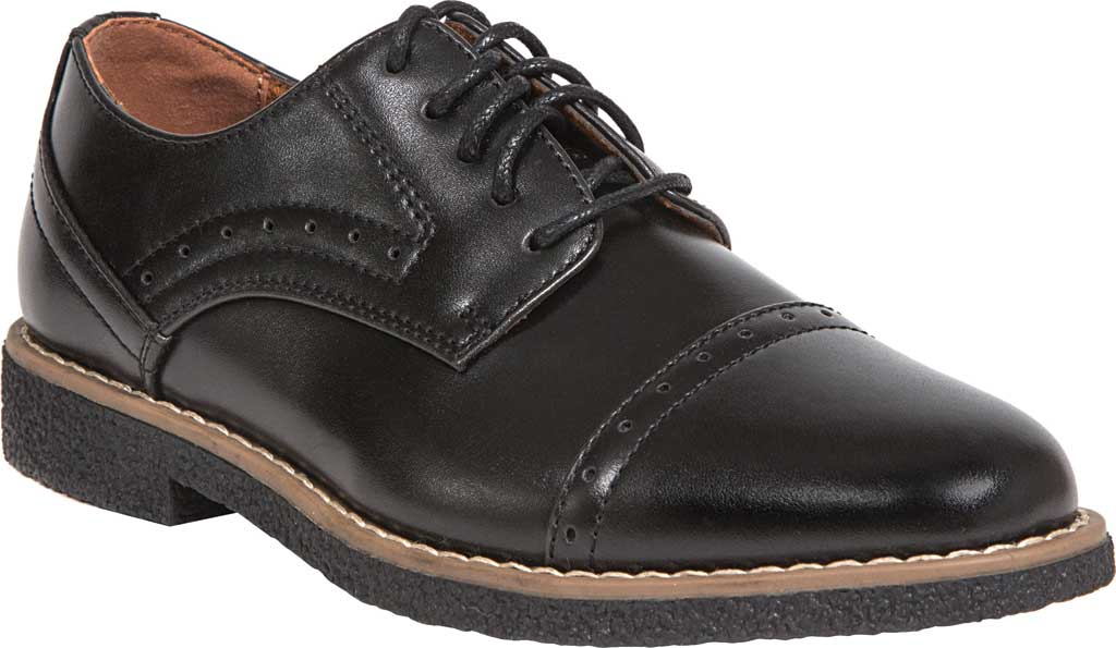 Boys' Deer Stags Zoran Oxford, Black Simulated Leather, large, image 1