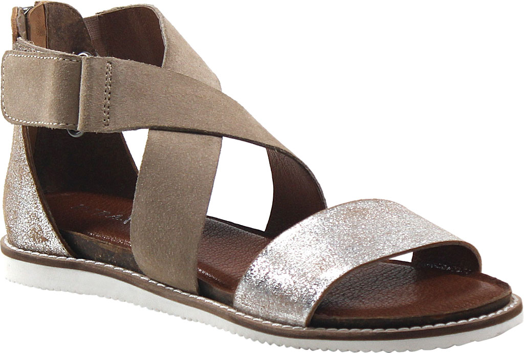 Women's Diba True Flip Toes Strappy Sandal, Silver/Natural Suede, large, image 1
