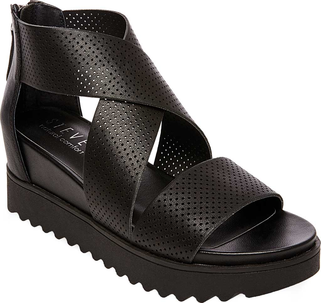 Women's STEVEN by Steve Madden Klein Perforated Platform Sandal, Black Synthetic Leather, large, image 1