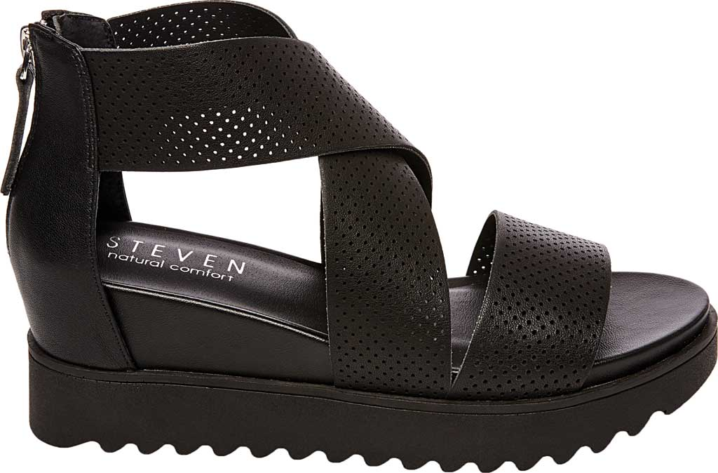 Women's STEVEN by Steve Madden Klein Perforated Platform Sandal, Black Synthetic Leather, large, image 2