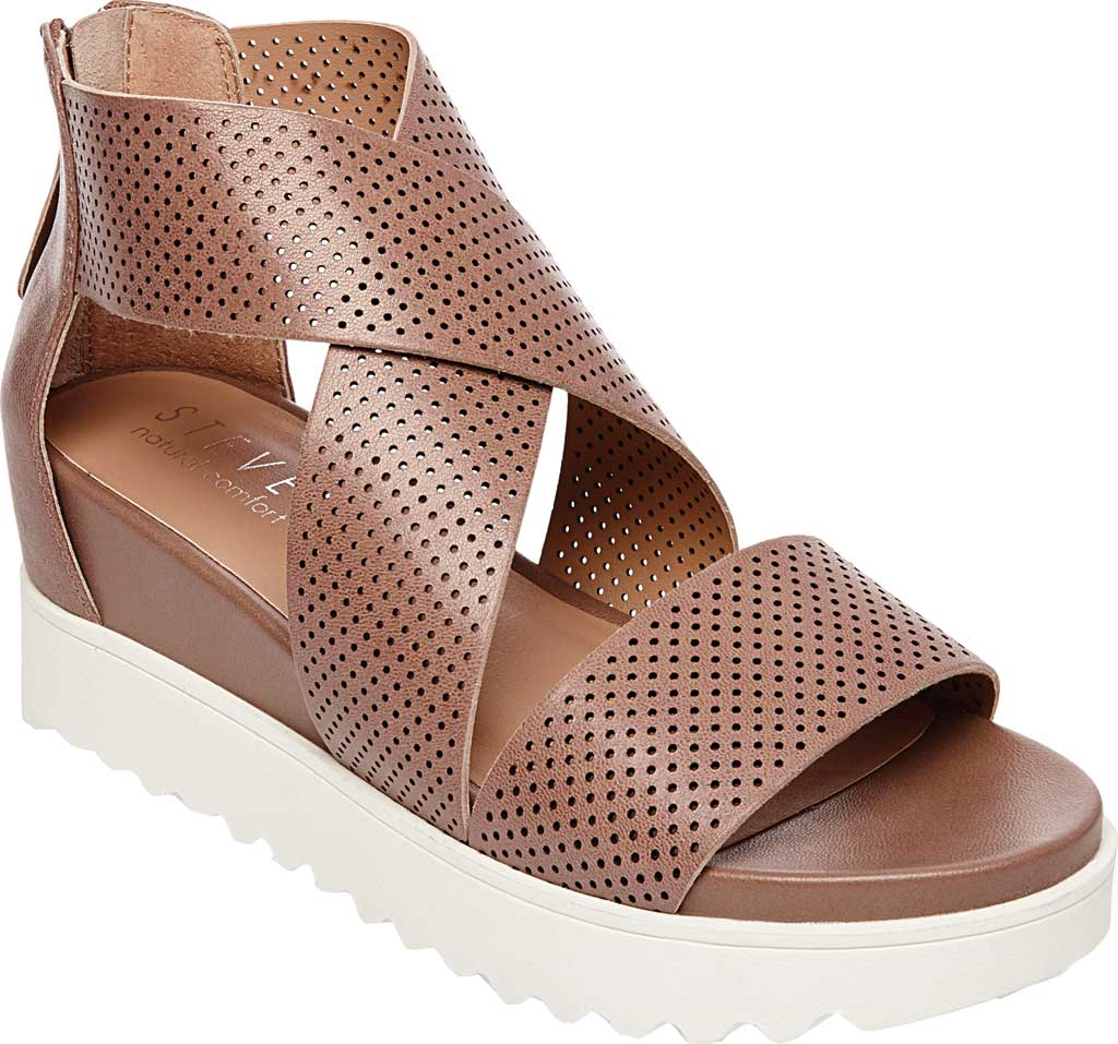 Women's STEVEN by Steve Madden Klein Perforated Platform Sandal, Tan Synthetic Leather, large, image 1