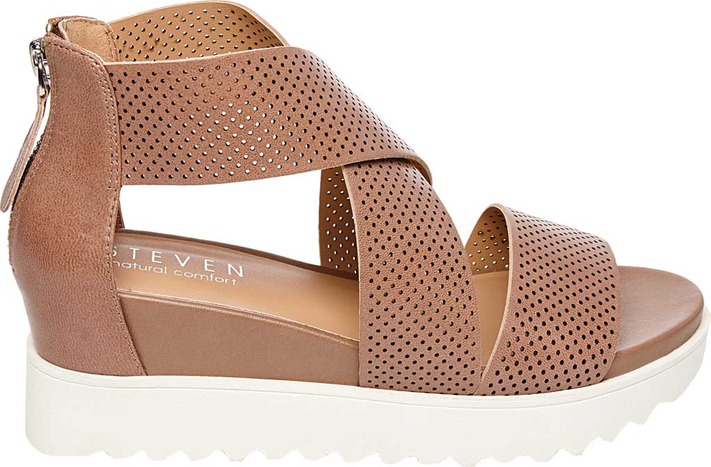 Women's STEVEN by Steve Madden Klein Perforated Platform Sandal, Tan Synthetic Leather, large, image 2