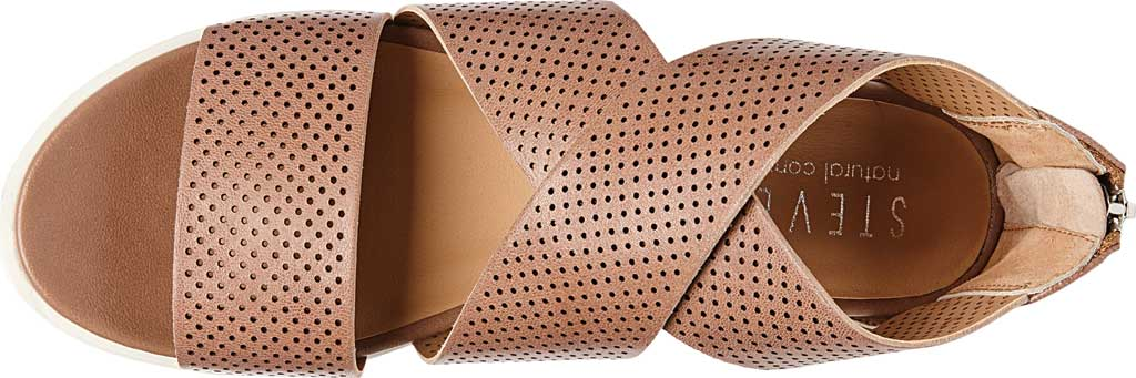 Women's STEVEN by Steve Madden Klein Perforated Platform Sandal, Tan Synthetic Leather, large, image 4