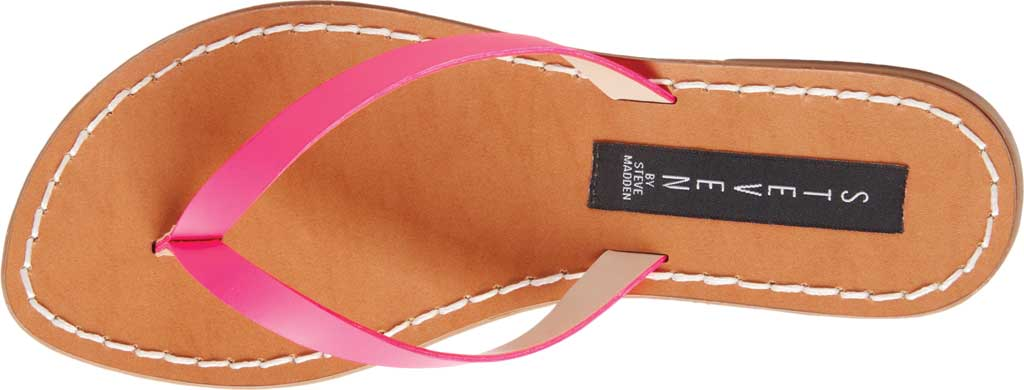 Women's STEVEN by Steve Madden Chey Thong Sandal, Pink Neon Leather, large, image 4