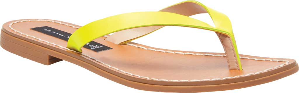 Women's STEVEN by Steve Madden Chey Thong Sandal, Yellow Neon Leather, large, image 1
