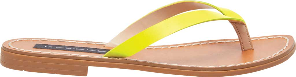 Women's STEVEN by Steve Madden Chey Thong Sandal, Yellow Neon Leather, large, image 2
