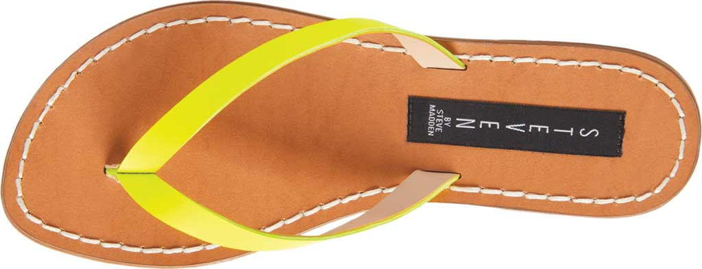 Women's STEVEN by Steve Madden Chey Thong Sandal, Yellow Neon Leather, large, image 4