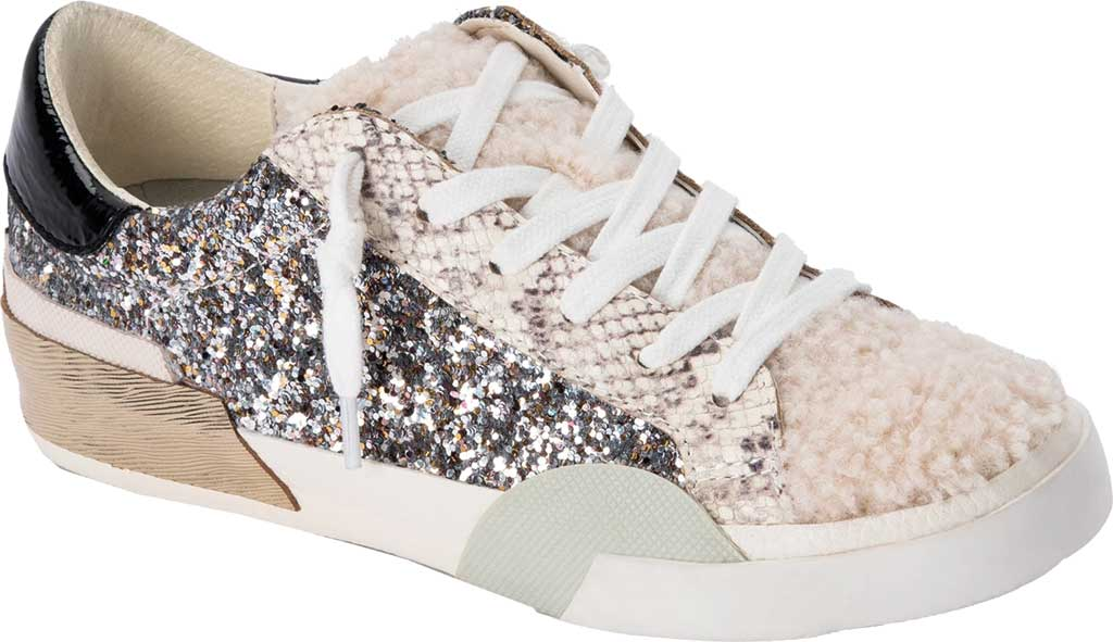 Women's Dolce Vita Zina Plush Sneaker, Silver Multi Glitter/Synthetic Fabric, large, image 1