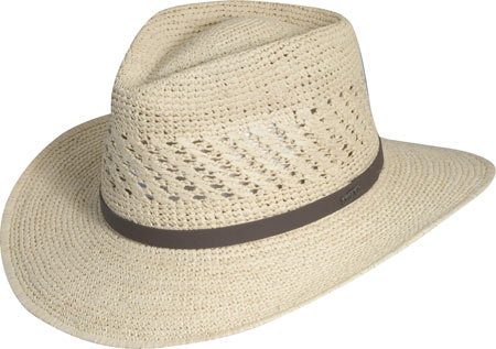 Men's Scala MR112OS Crocheted Outback Straw Hat, Natural, large, image 1