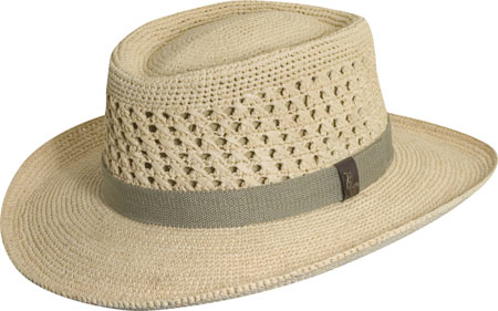 Men's Scala MR113OS Crocheted Outback Straw Hat, Natural, large, image 1