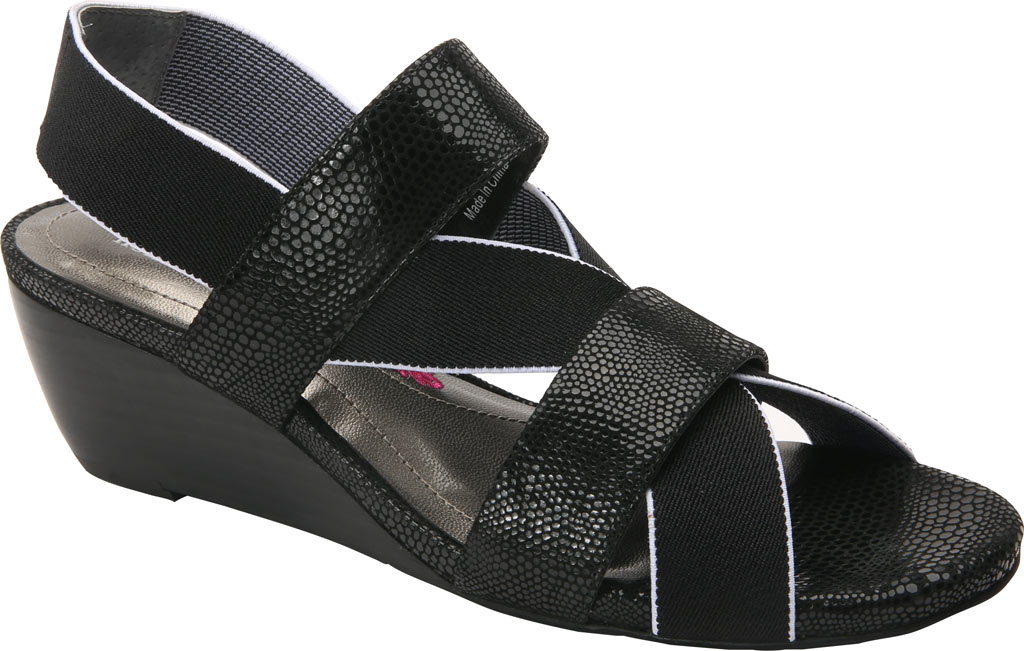 Women's Ros Hommerson Wynona Strappy Wedge Sandal, Black Leather, large, image 1