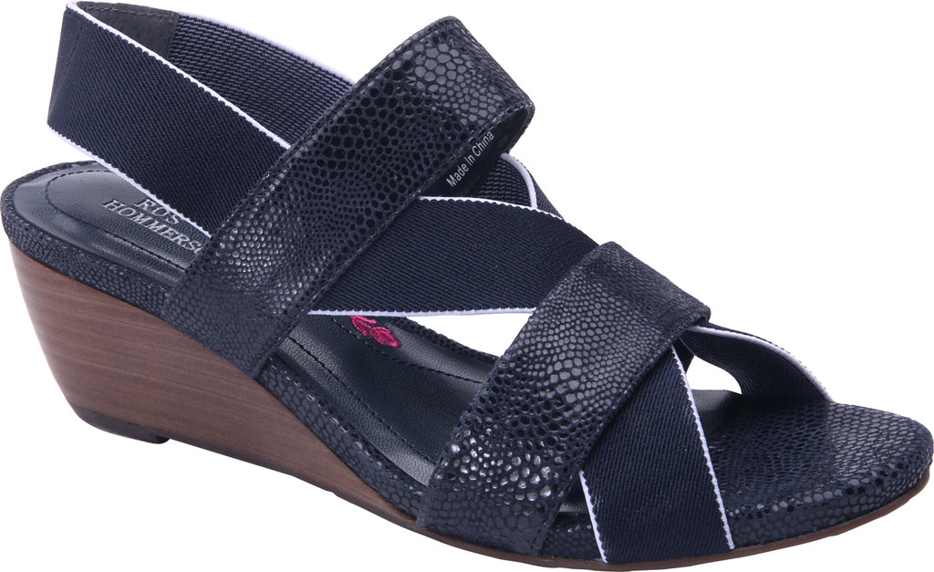 Women's Ros Hommerson Wynona Strappy Wedge Sandal, Navy Leather, large, image 1