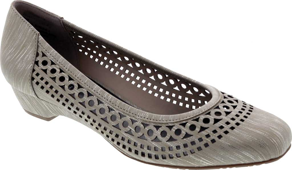 Women's Ros Hommerson Tina Flat, Taupe Laser Stripe Fabric, large, image 1