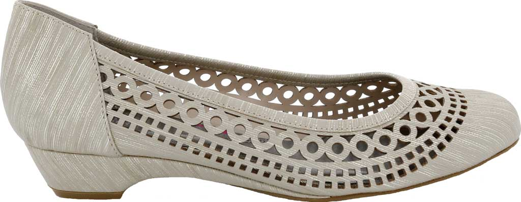 Women's Ros Hommerson Tina Flat, Taupe Laser Stripe Fabric, large, image 2
