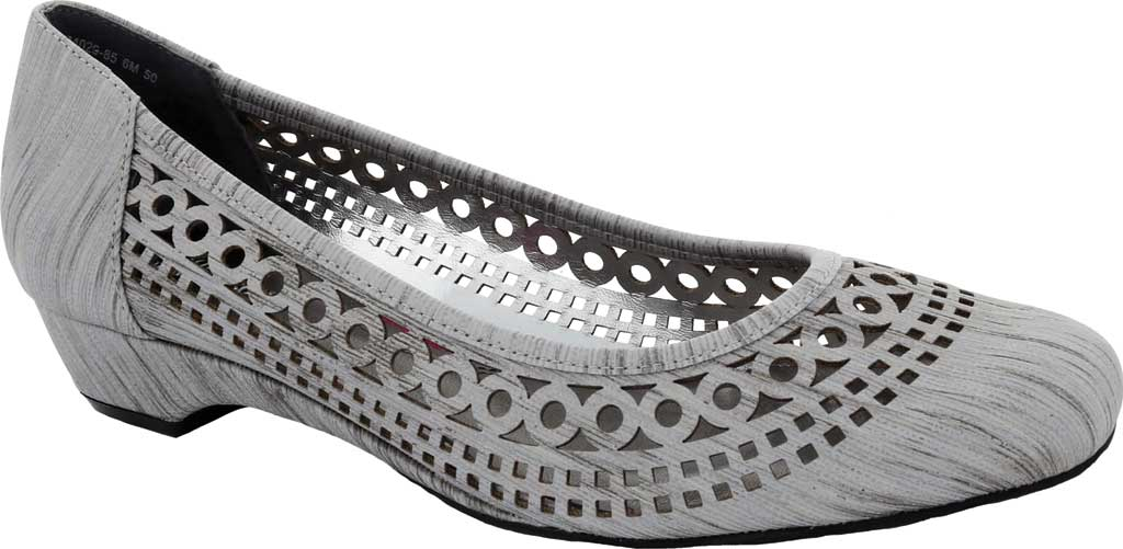 Women's Ros Hommerson Tina Flat, Silver Laser Stripe Fabric, large, image 1