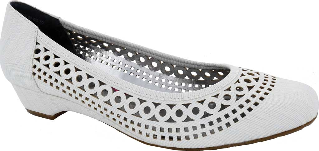 Women's Ros Hommerson Tina Flat, White Laser Stripe Fabric, large, image 1