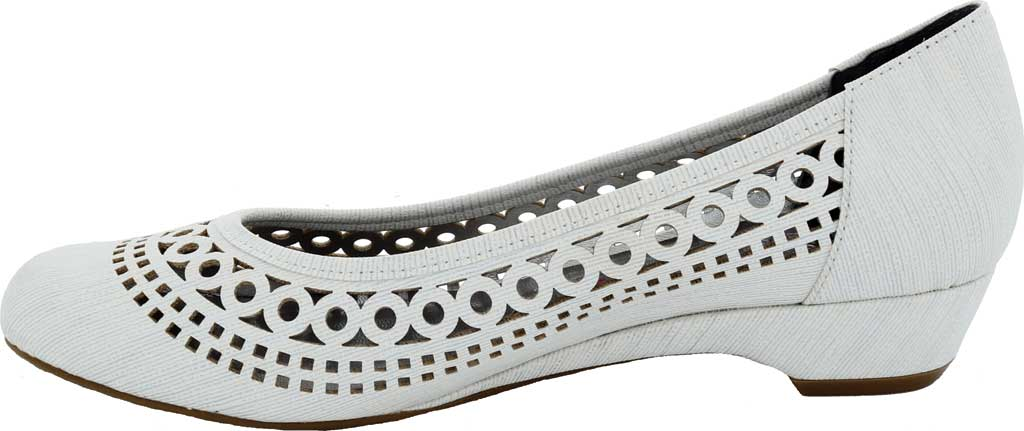 Women's Ros Hommerson Tina Flat, White Laser Stripe Fabric, large, image 3