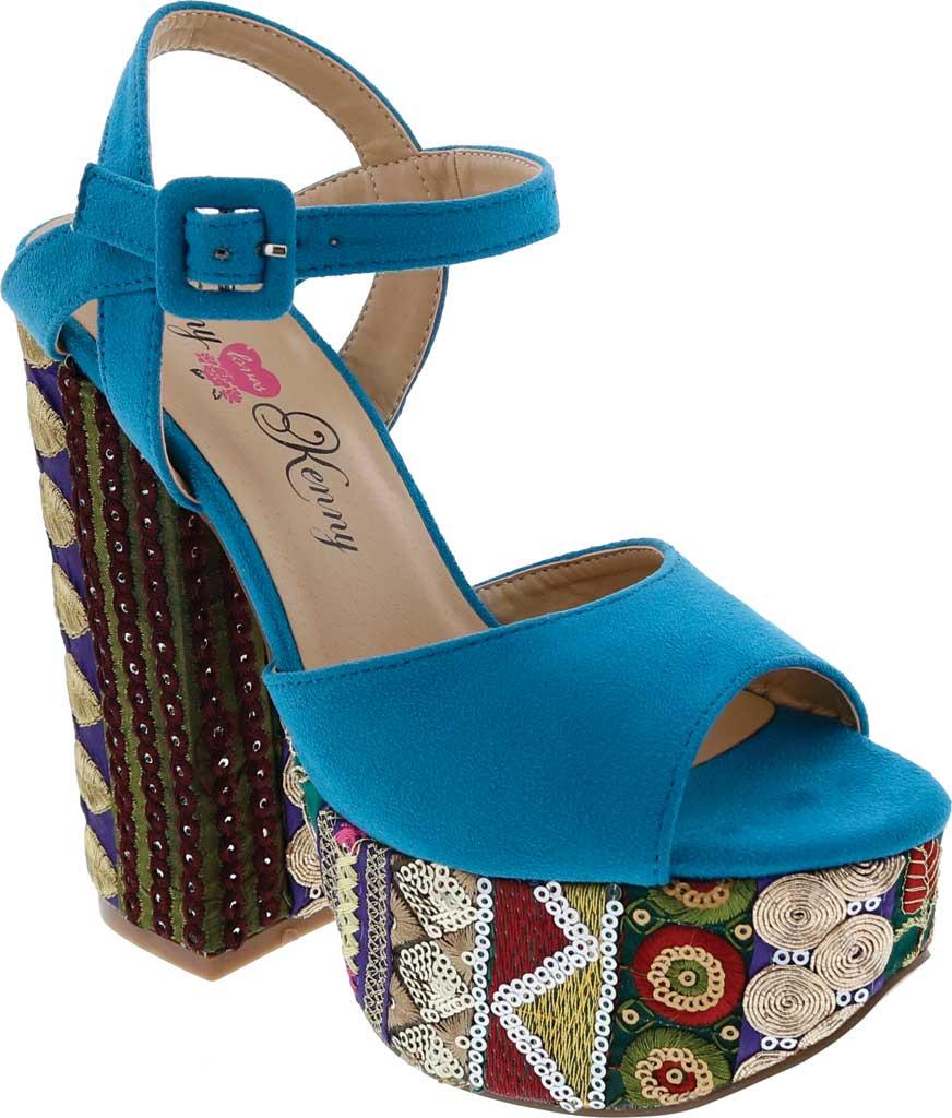Women's Penny Loves Kenny Skip Platform Sandal, Blue Micro Suede, large, image 1
