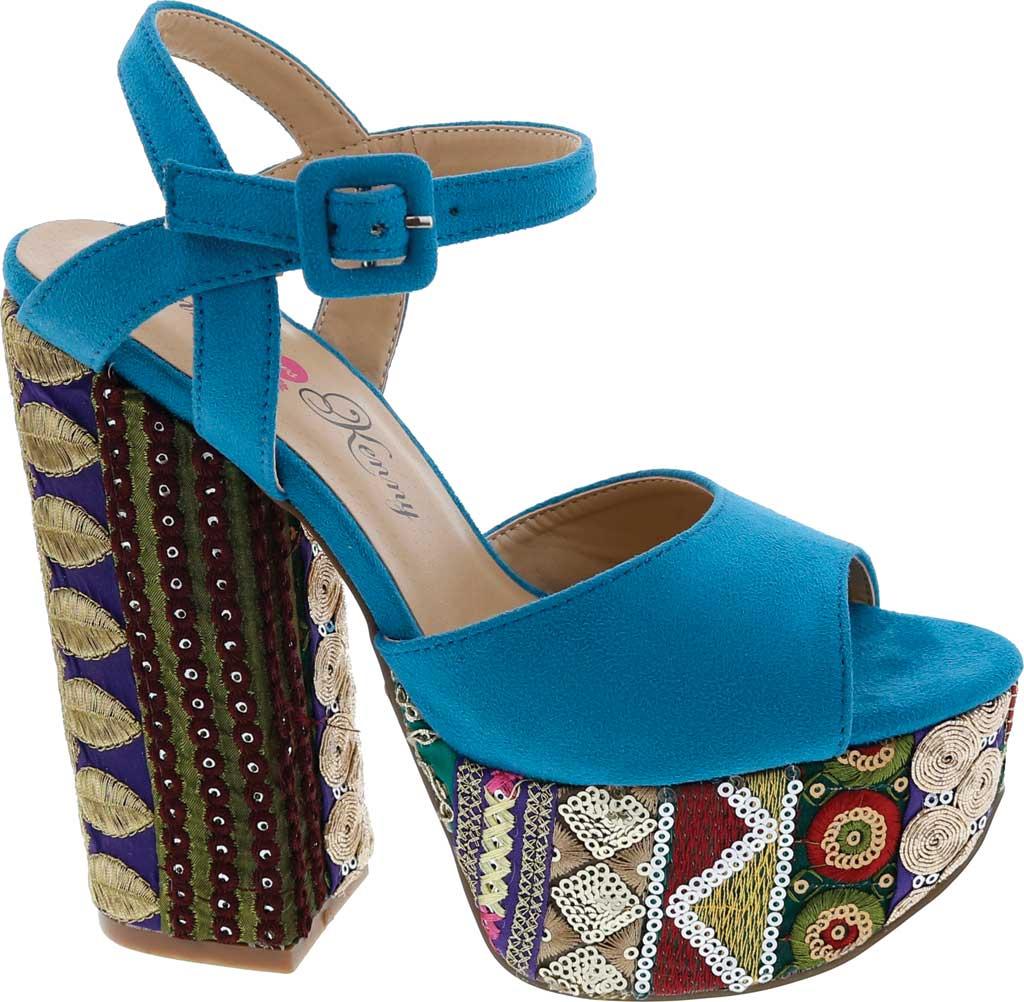 Women's Penny Loves Kenny Skip Platform Sandal, Blue Micro Suede, large, image 2