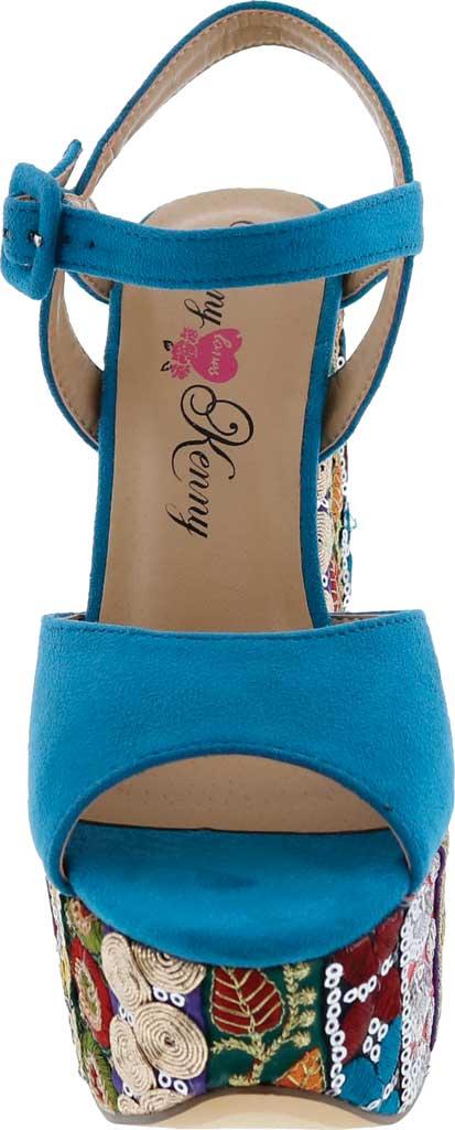 Women's Penny Loves Kenny Skip Platform Sandal, Blue Micro Suede, large, image 4