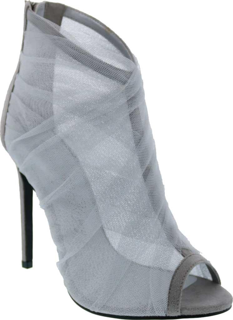 Women's Penny Loves Kenny Skylar Peep Toe Bootie, Grey Tulle Fabric, large, image 1