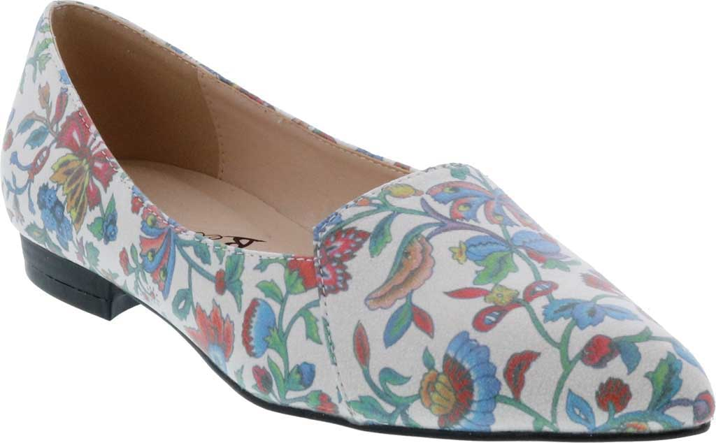 Women's Bellini Flora Flower Pointed Toe Flat, Blue Faux Leather, large, image 1