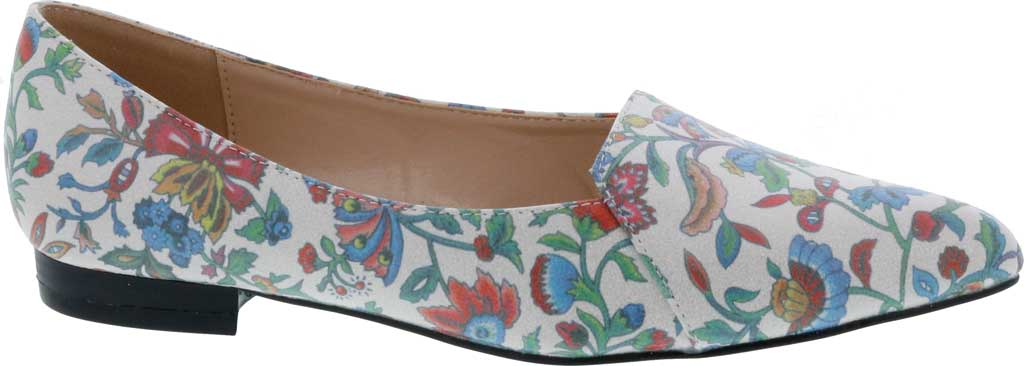 Women's Bellini Flora Flower Pointed Toe Flat, Blue Faux Leather, large, image 2