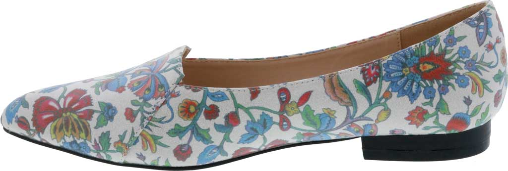 Women's Bellini Flora Flower Pointed Toe Flat, Blue Faux Leather, large, image 3