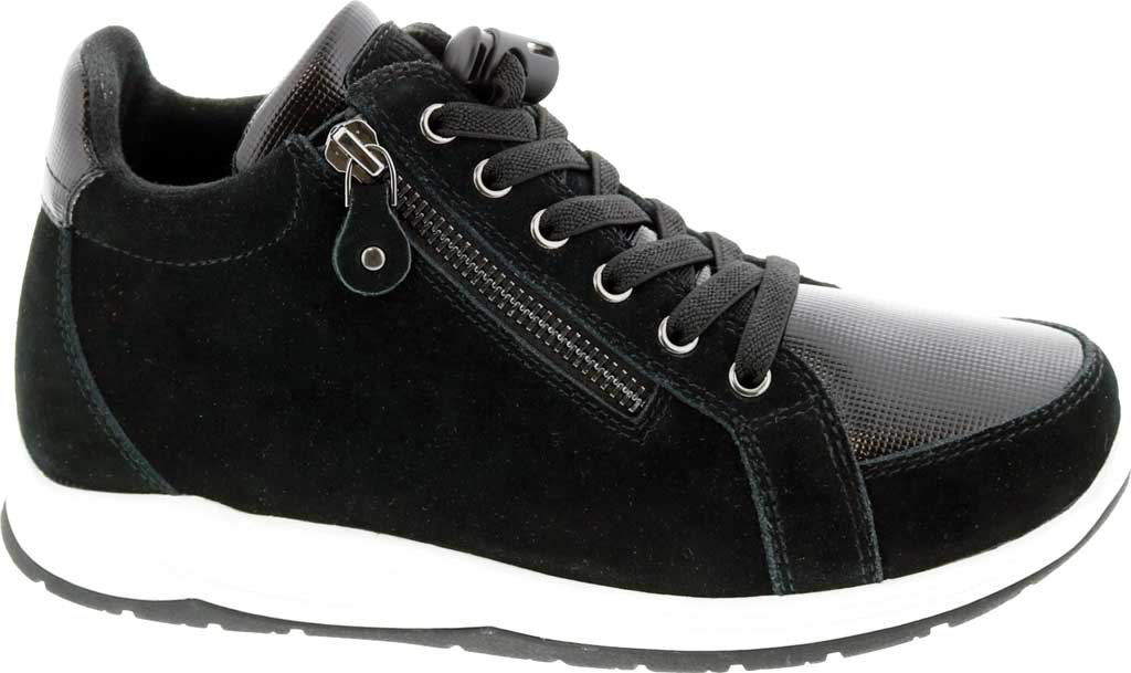 Women's Drew Strobe High Top Sneaker, Black Suede/Leather, large, image 1