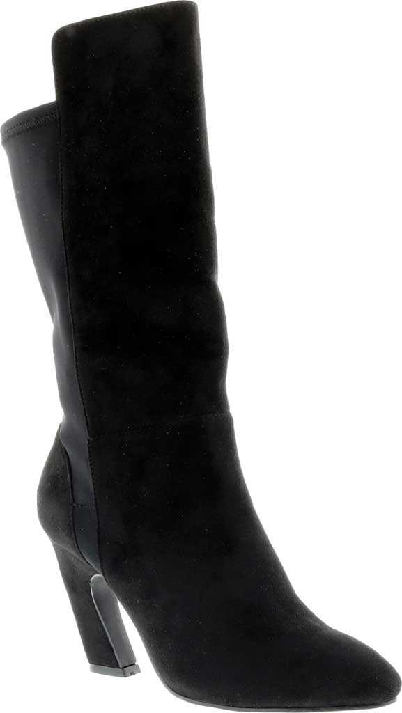 Women's Bellini Chrome Heeled Boot, Black Microsuede/Lycra, large, image 1
