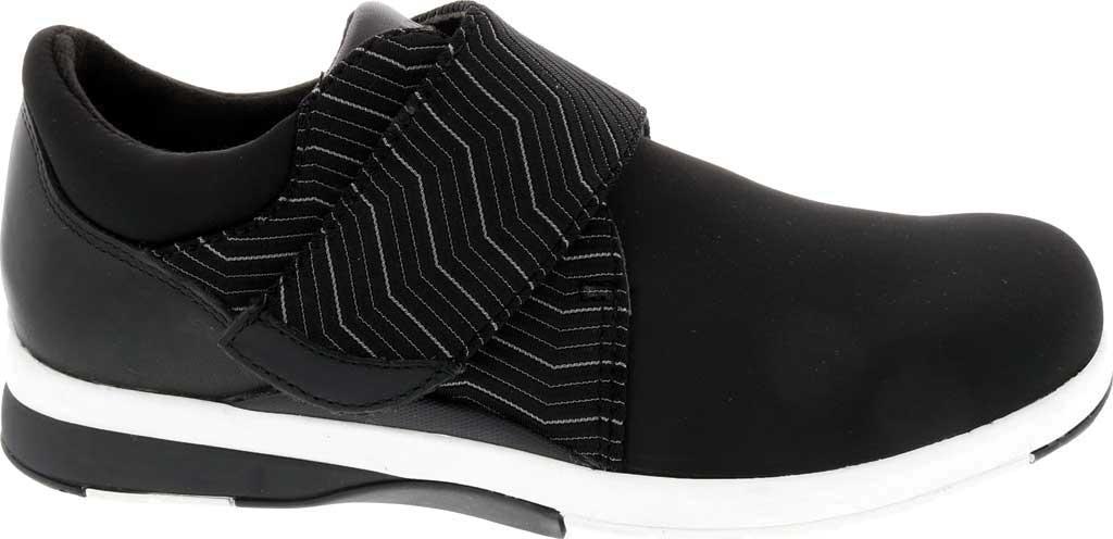 Women's Drew Moonwalk Sneaker, Black Lycra/Leather, large, image 2
