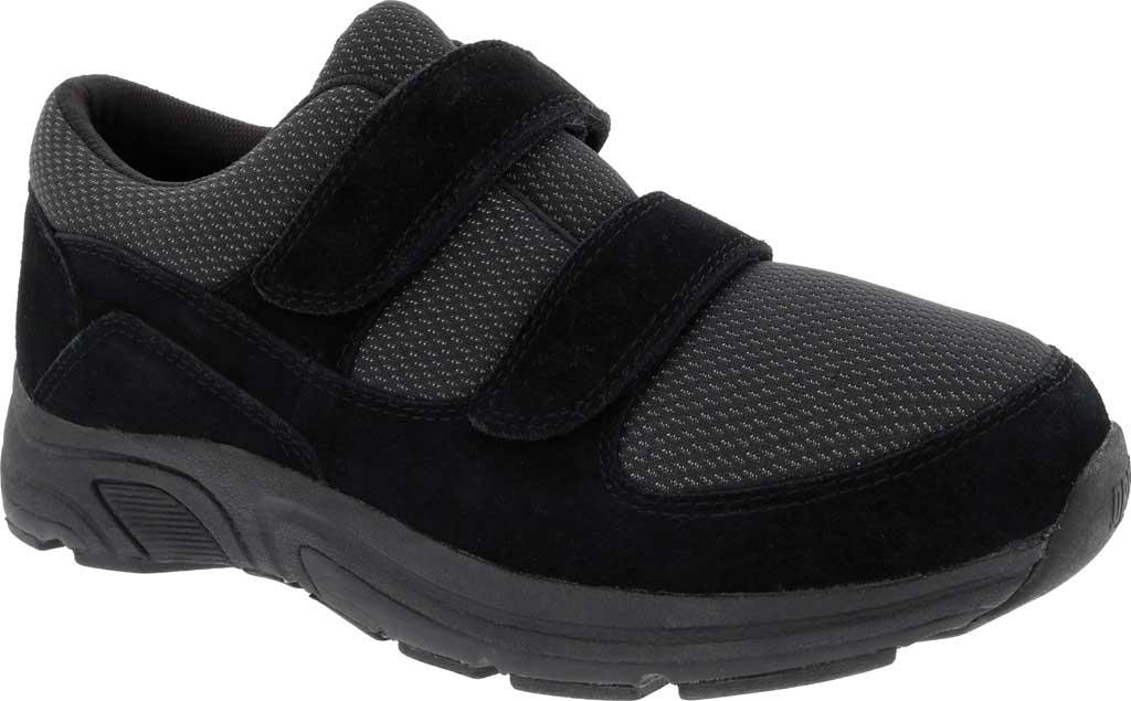 Men's Drew Win Hook and Loop Sneaker, Black Suede/Knit, large, image 1
