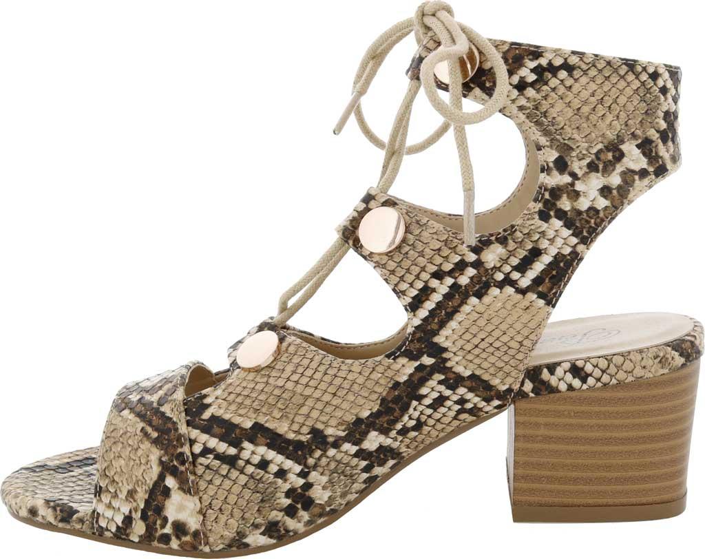 Women's Penny Loves Kenny Serge Block Heel Lace Up Sandal, Natural/Black Snake Print Polyurethane, large, image 3