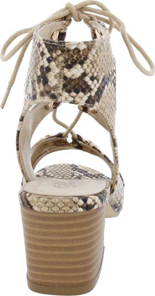 Women's Penny Loves Kenny Serge Block Heel Lace Up Sandal, Natural/Black Snake Print Polyurethane, large, image 4
