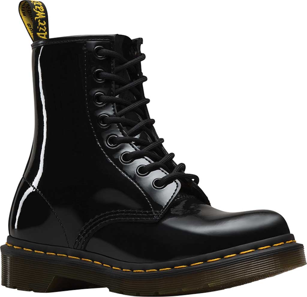 Women's Dr. Martens 1460 8-Eye Boot, Black Patent Lamper, large, image 1