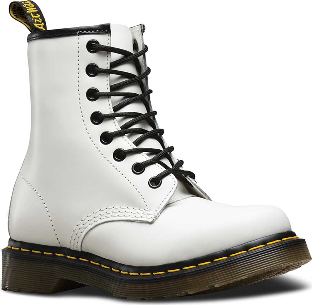 Women's Dr. Martens 1460 8-Eye Boot, White Smooth, large, image 1