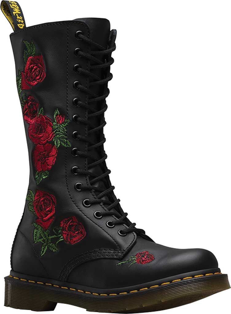 Women's Dr. Martens Embroidery Vonda 14 Eye Boot, Black Softy T, large, image 1
