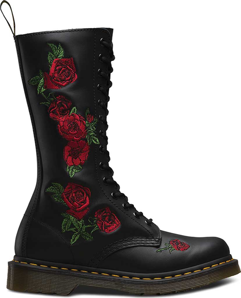 Women's Dr. Martens Embroidery Vonda 14 Eye Boot, Black Softy T, large, image 2