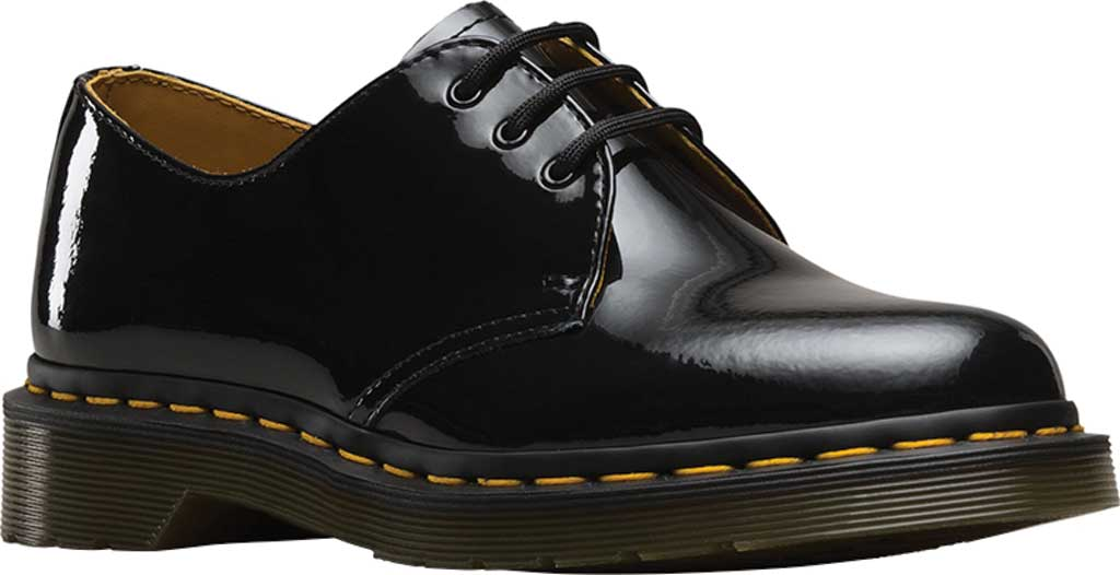 Women's Dr. Martens 1461 3-Eye Shoe, Black Patent Lamper, large, image 1