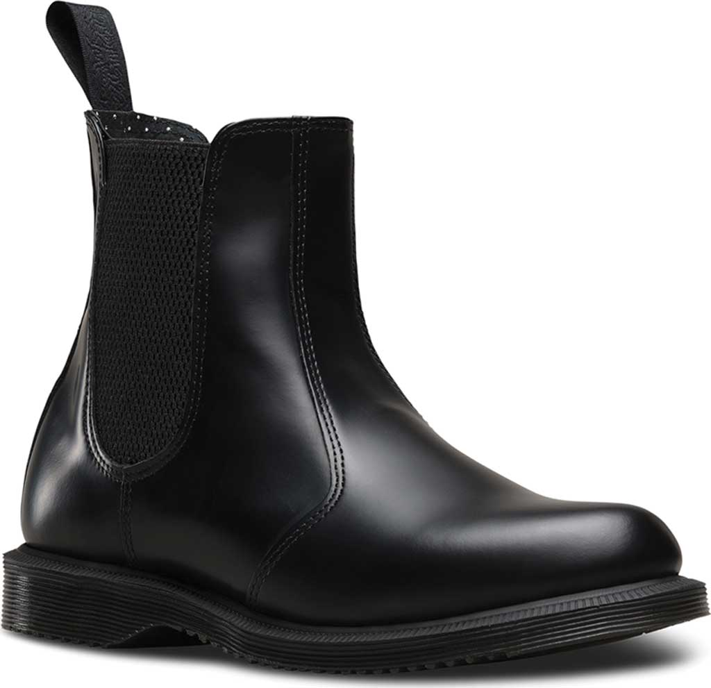 Women's Dr. Martens Flora Chelsea Boot, Black Polished Smooth, large, image 1