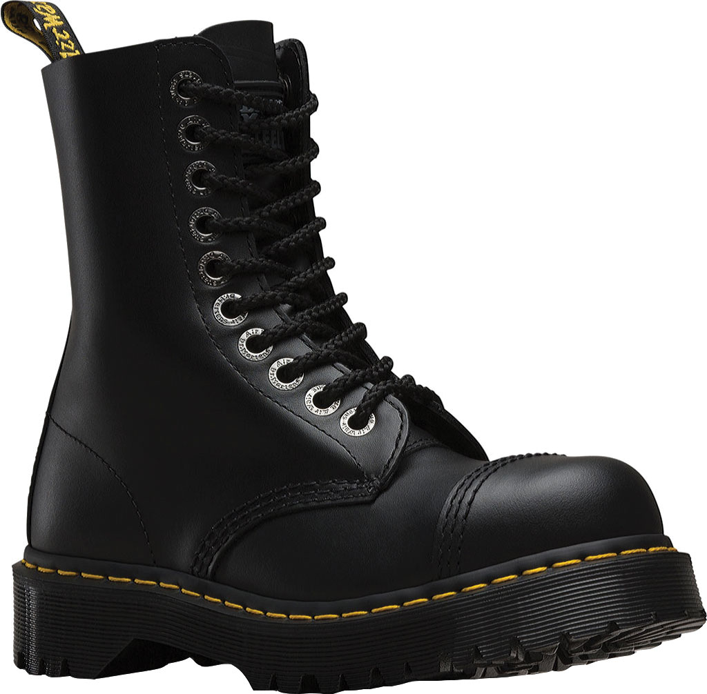 Dr. Martens 8761FH 10-Eyelet Cap Toe Boot, Black Fine Haircell, large, image 1