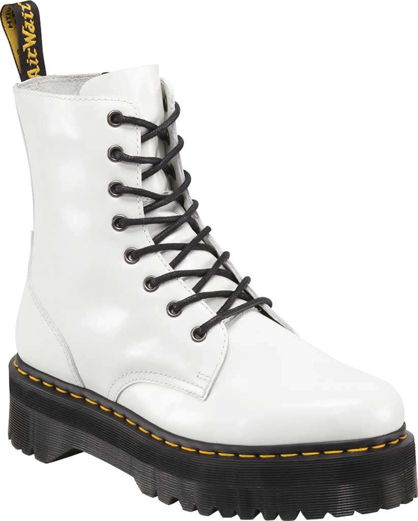 Dr. Martens Jadon 8-Eye Boot, White Polished Smooth Leather, large, image 1
