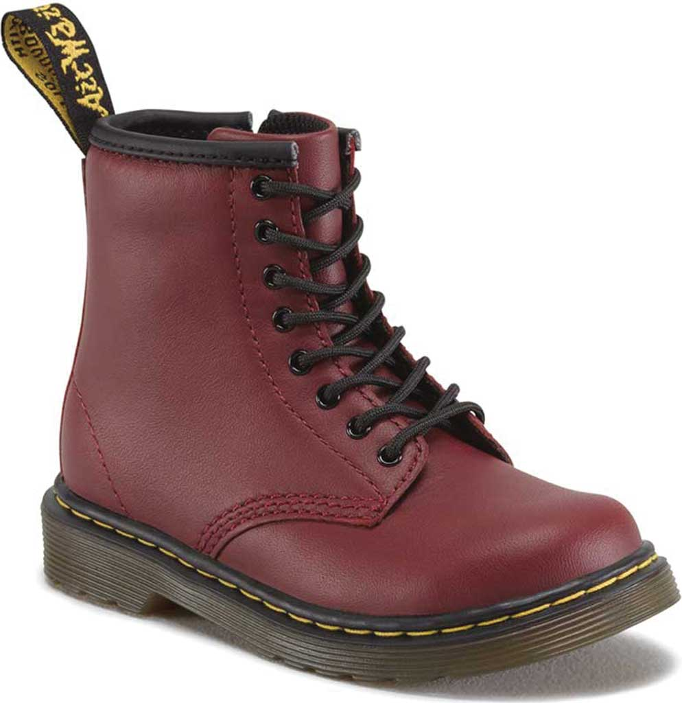 Infant Dr. Martens Brooklee Boot, Cherry Red Softy T, large, image 1