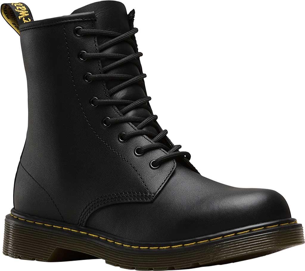 Children's Dr. Martens Delaney 8 Eye Side Zip Boot - Junior, Black Softy T, large, image 1