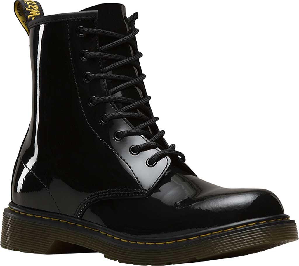 Children's Dr. Martens Delaney 8 Eye Side Zip Boot - Junior, Black Patent Lamper, large, image 1