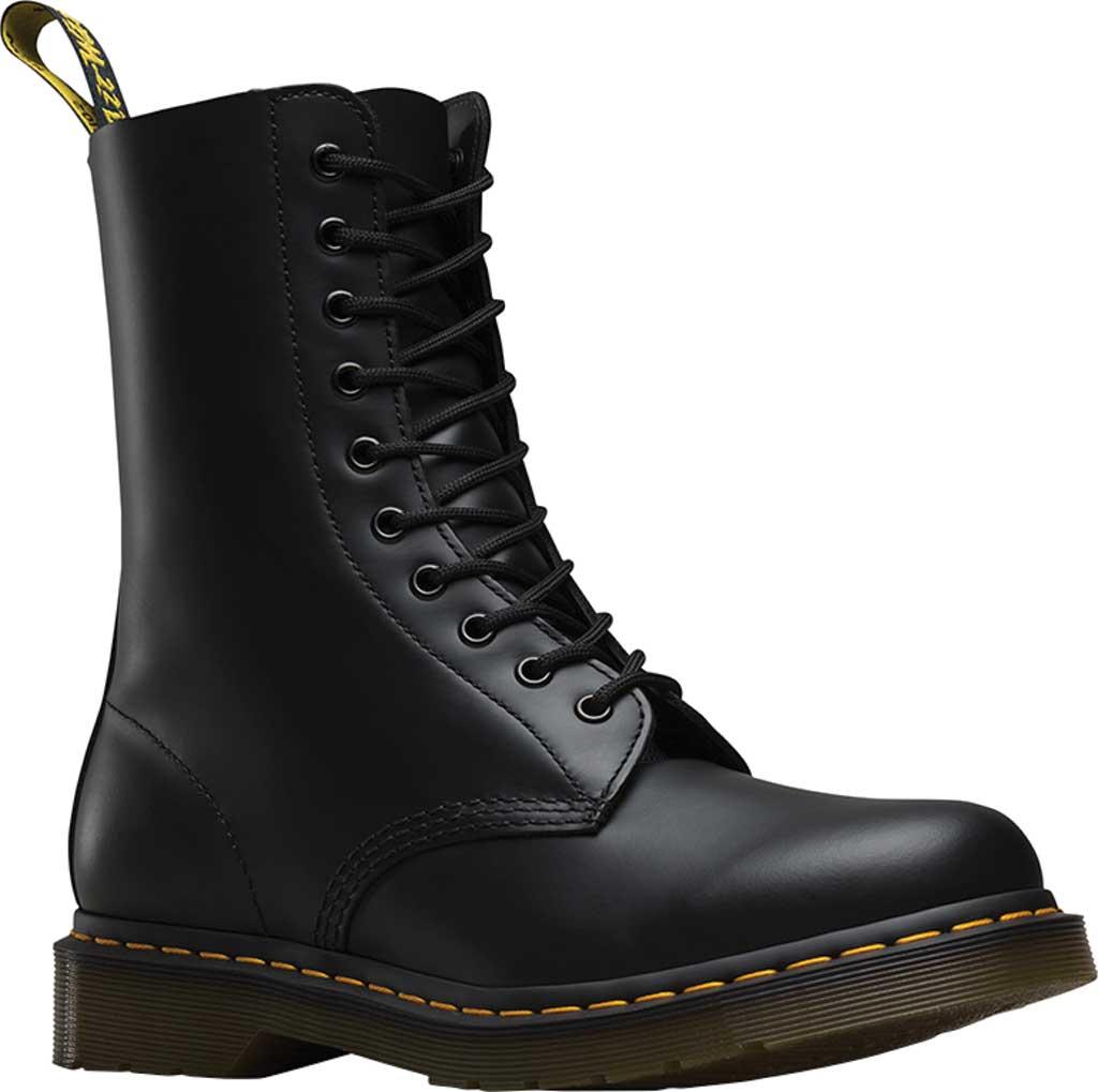 Dr. Martens 1490 10-Eyelet Boot, Black Smooth Leather, large, image 1