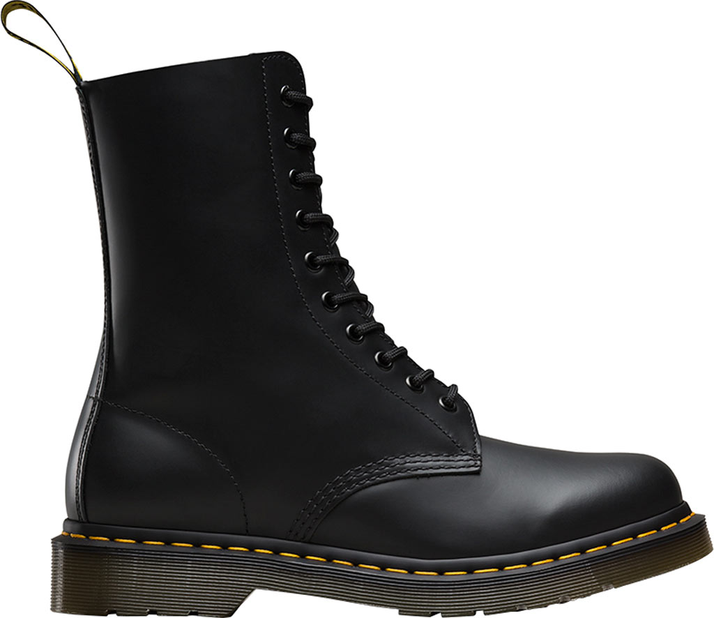 Dr. Martens 1490 10-Eyelet Boot, Black Smooth Leather, large, image 2