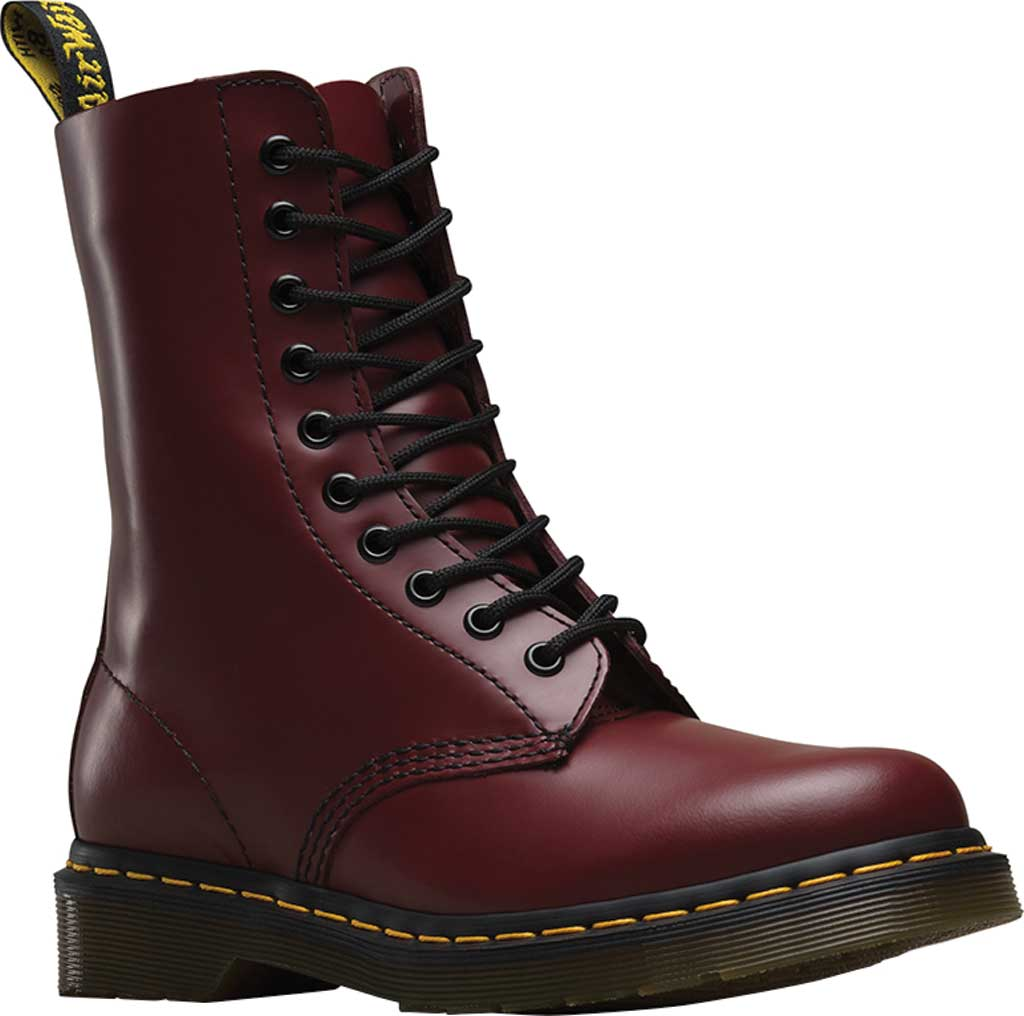 Dr. Martens 1490 10-Eyelet Boot, Cherry Red Smooth Leather, large, image 1